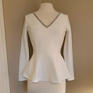 Forever New White Peplum Top with Rhinestones Sz 6